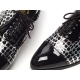 Mens synthetic leather glitter black & white Lace up Shoes made in KOREA US 5.5 - 10