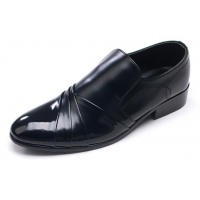 Mens chic wrinkles black synthetic leather rubber sole loafers Dress shoes US 7 - 10.5