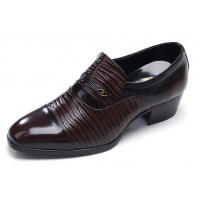 Mens two tone straight tip geometric pattern cow leather rubber sole loafers dress shoes brown US 5.5 - 10