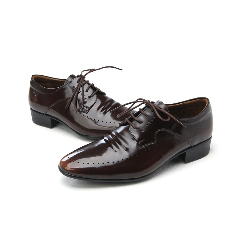 mens punching brown cow leather dress shoes