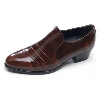 Mens diagonal wrinkles brown cow leather rubber sole loafers Dress shoes US 6.5 - 10