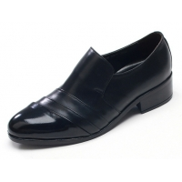 Mens diagonal wrinkles black cow leather rubber sole loafers Dress shoes US 6.5 - 10.5
