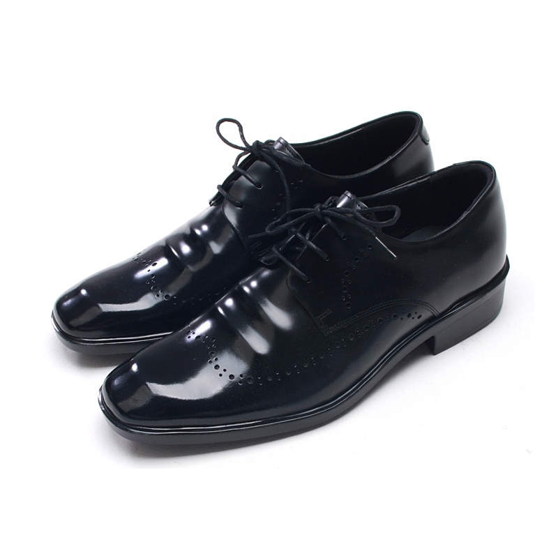 mens square toe punching wrinkles dress shoes