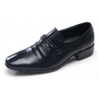 Mens punching black cow leather wrinkles urethane sole lace up Dress shoes US 5.5 - 10.5