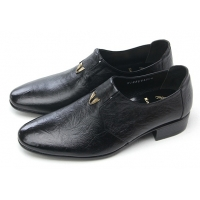 Mens pointed toe wrinkles side stitch stud black cow leather urethane sole loafers dress shoes US 5.5 - 10
