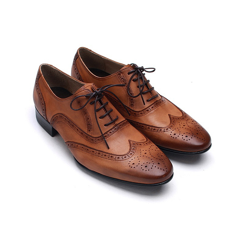 Mens wingtips punching brown cow leather urethane sole lace up Dress
