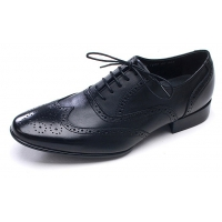 Mens wingtips punching Black cow leather urethane sole lace up Dress shoes US 6.5 - 10.5