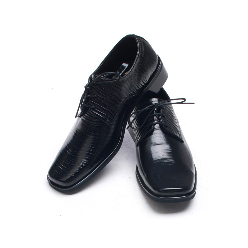 Mens Pointed Square Toe Wrinkles Black Cow Leather Rubber Sole Lace Up Dress Shoes Us 6 5 10