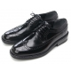 Mens wingtips punching black cow leather urethane sole lace up Dress shoes US 5.5 - 10.5