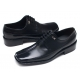 Mens pointed square toe black cow leather rubber sole lace up Dress shoes US 5.5 - 13