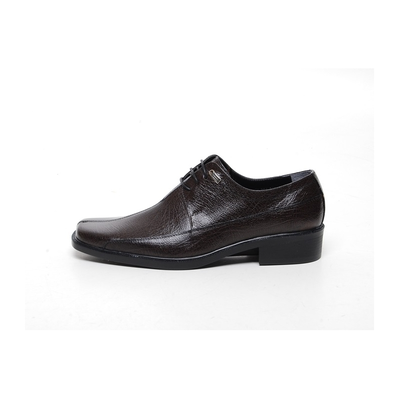 Mens Flat Square Toe Leather Dress Shoes
