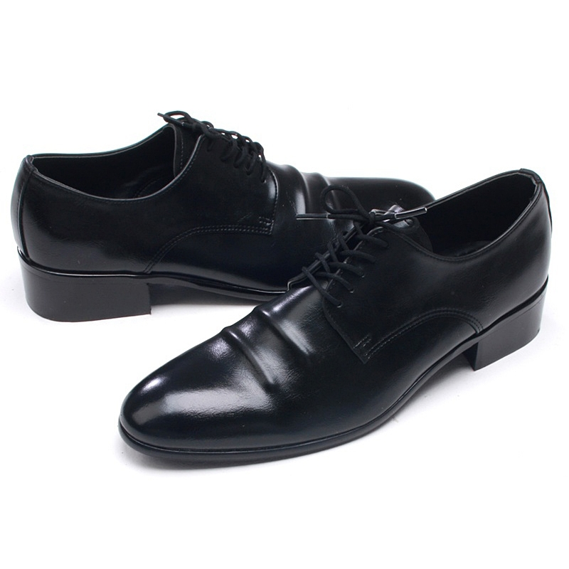 Mens Chic Round Toe Wrinkles Black Synthetic Leather Rubber Sole Lace Up Dress Shoes Us 7 10 5
