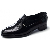 Mens straight tip wrinkles black cow leather rubber sole loafers dress shoes US 5.5 - 10