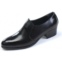 Mens round toe black cow leather rubber sole loafers high heels Dress shoes US 6.5 - 10.5