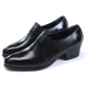 Men's round toe black cow leather rubber outsole high heels loafers US 6.5 - 10.5