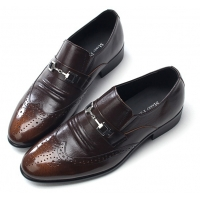 Mens wingtips punching stud decoration brown cow leather urethane sole loafers dress shoes US 5.5 - 10