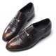 Men's wingtips punching stud decoration brown cow leather urethane sole loafers US 5.5 - 10.5