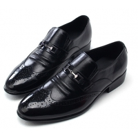 Mens wingtips punching stud decoration black cow leather urethane sole loafers dress shoes US 5.5 - 10.5