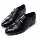 Men's wingtips punching stud decoration black cow leather urethane sole loafers US 5.5 - 10.5