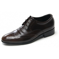Mens wingtips punching brown cow leather urethane sole lace up oxford dress shoes US 5.5 - 10.5