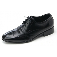 Mens wingtips punching black cow leather urethane sole lace up oxford dress shoes US 5.5 - 10.5