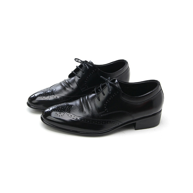 Mens Wingtips Black Cow Leather Dress Shoes