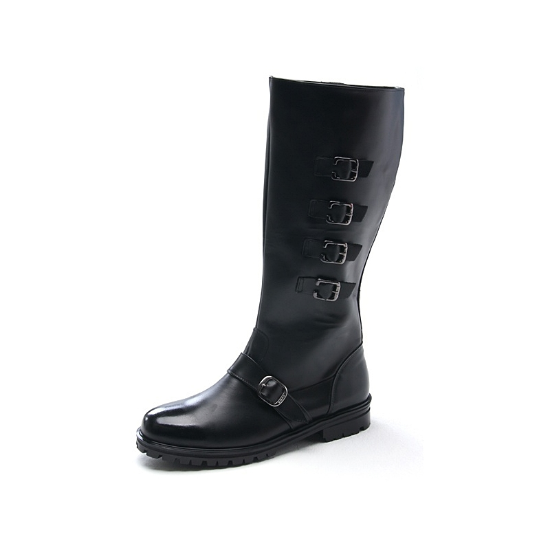 Mens Multi Buckle Strap Decoration Cow Leather Mid Calf
