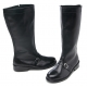 Mens round toe belt strap decoration side zip cow leather mid calf riding boots US 6.5 - 10.5