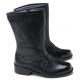 Mens round toe belt strap decoration side zip cow leather inner fur riding combat ankle boots US 6.5 - 10.5