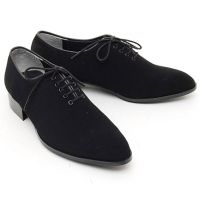 Mens suede Lace Up Oxfords 1.57 inch heels Dress shoes black made in KOREA US 6.5 - 10.5