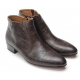 Mens pointed toe side zip closure wedge rubber band high heels ankle boots dark brown US7-7.5-8-8.5-9-9.5-10-10.5