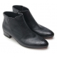 Mens pointed toe side zip closure wedge rubber band high heels ankle boots black US7-7.5-8-8.5-9-9.5-10-10.5