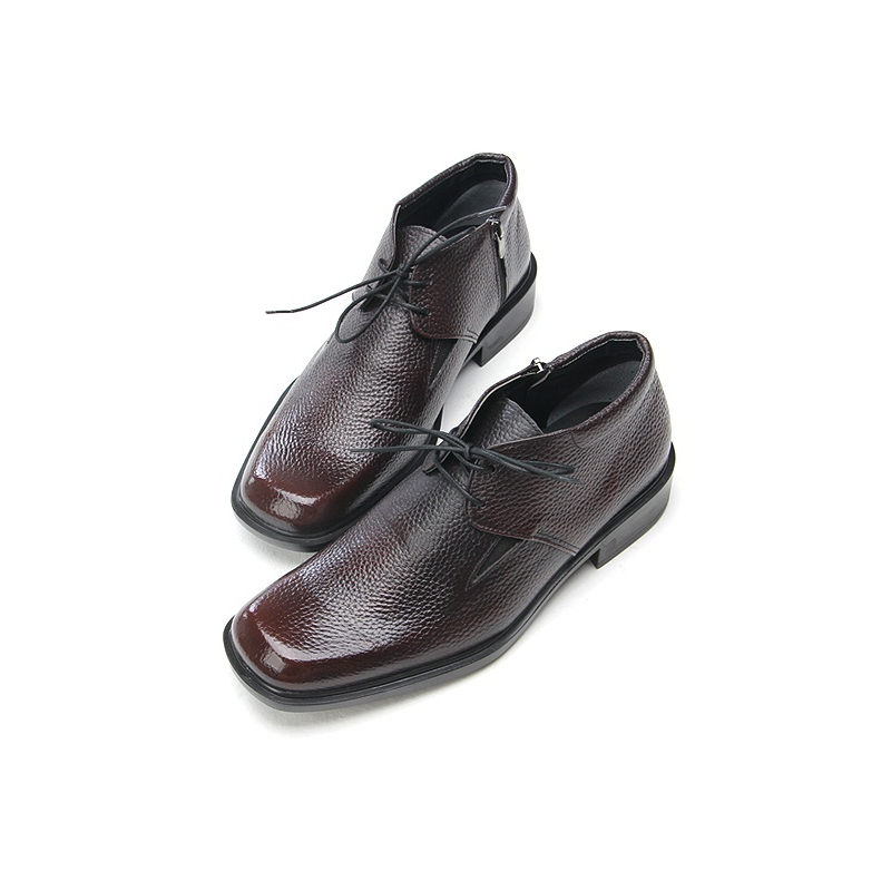 mens square toe cow leather ankle dress shoes