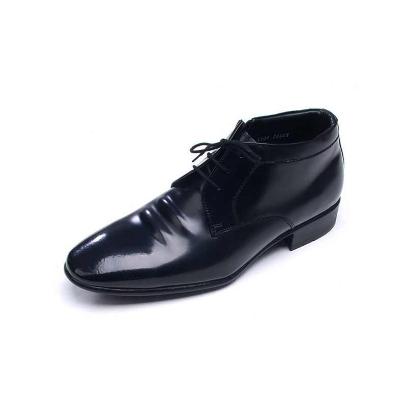mens pointed toe wrinkles black leather ankle dress shoes