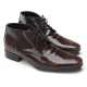 Mens wrinkles increase height hidden insole brown cow leather zip lace up ankle boots Elevator dress shoes US 6.5 - 10.5