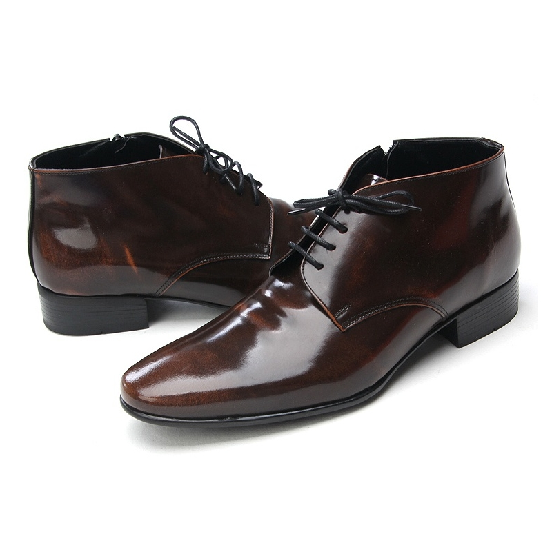 Mens increase height hidden insole leather ankle dress shoes