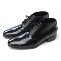 Mens wrinkles increase height hidden insole black cow leather zip lace up ankle boots Elevator dress shoes US 6.5 - 10.5