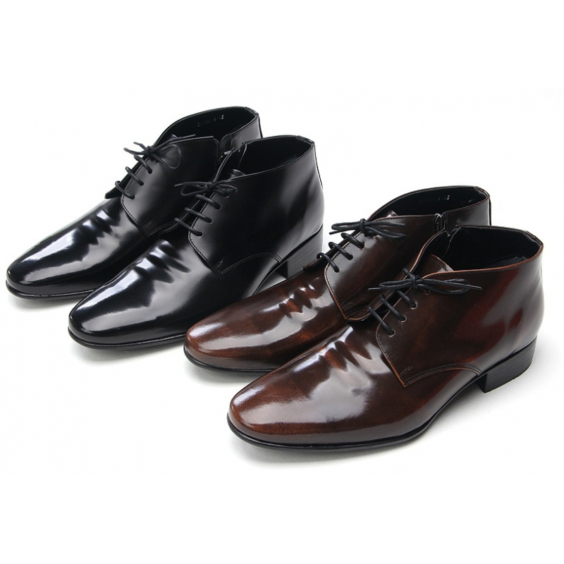 Mens increase height leather ankle dress shoes