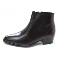 Mens pointed toe brown cow leather rubber sole side zip high heels ankle boots US 5.5 - 10.5