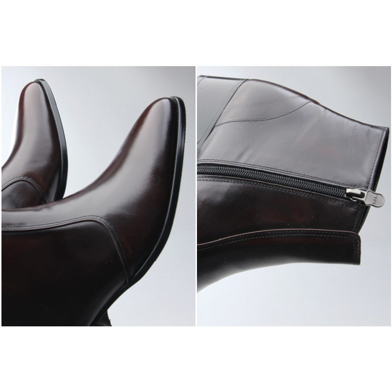 mens pointed toe side zip high heels ankle boots