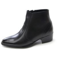 Mens pointed toe black cow leather rubber sole side zip high heels ankle boots US 5.5 - 10.5