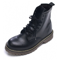 Mens military contrast stitch eyelet lace up black synthetic leather side zip ankle combat boots US4-10.5