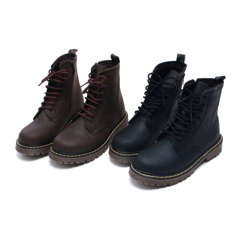 Mens contrast stitch matt brown lace up side zip military ankle ...