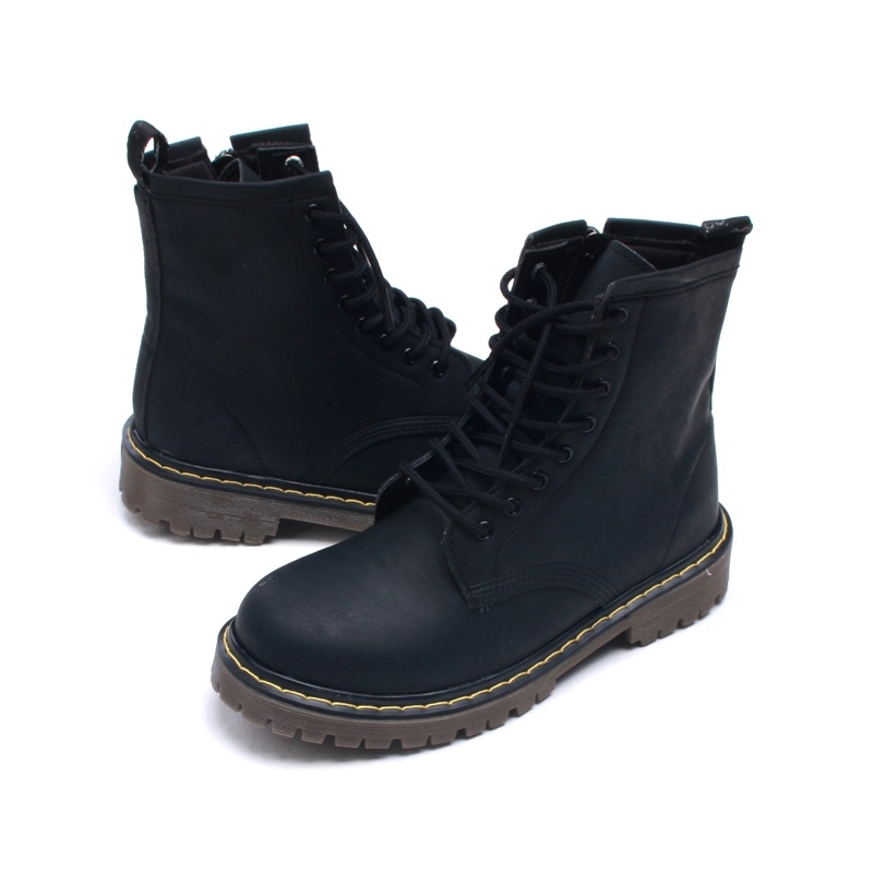 Mens military matt black ankle boots