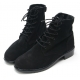 Mens round toe black cow suede rubber sole side zip ankle combat boots US 5.5 - 11.5