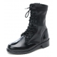 Mens punk & goth round toe black cow leather rubber sole side zip ankle combat boots US 5.5 - 11.5