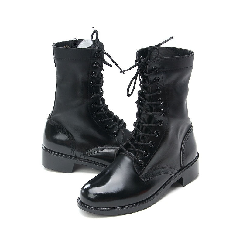 ae915614db9554 Mens punk   goth round toe black cow leather rubber sole side zip ankle  combat boots US 5.5 - 11.5