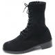 Mens rock n roll round toe black cow suede rubber sole side zip ankle combat boots US 5.5 - 11.5