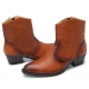 Mens rock chic western geometric stitch pointed toe brown cow leather side zip high heels ankle boots US 6.5 - 10.5