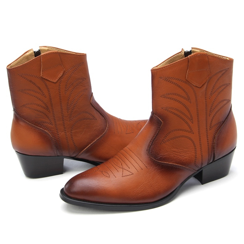 Mens Rock Chic Western High Heels Ankle Boots